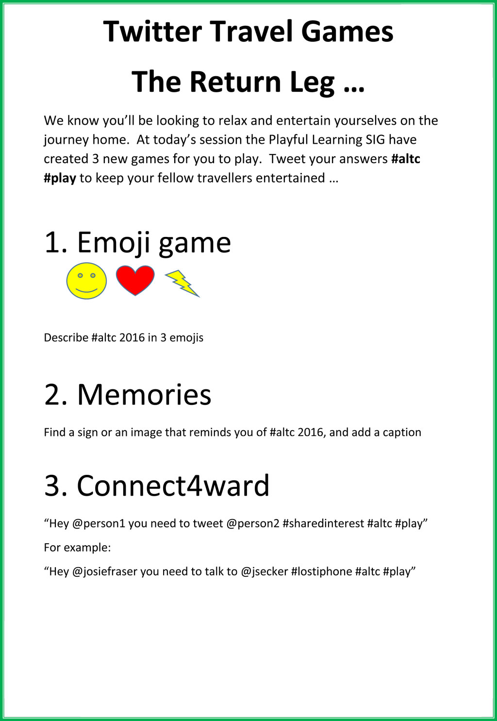 Twitter Travel Games The Return Leg … #altc #play