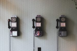 Old-fashioned telephones