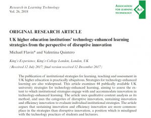 Screen shot of an Article: UK higher institutions' technology-enhanced learning strategies from the perspective of disruptive innovation