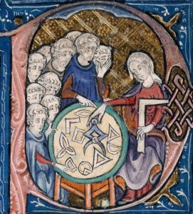 Woman teaching geometry. British Library