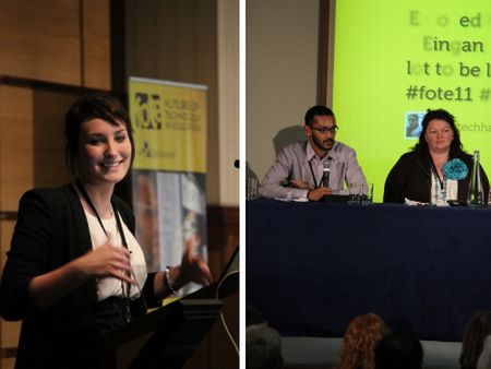 Photos of Emily-Ann Nash and Nizam Uddin presenting at FOTE 2011