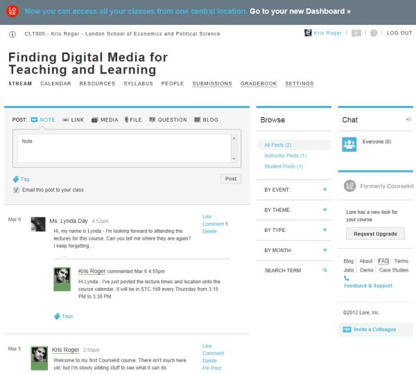 Screenshot of Lore - old 'Coursekit' design