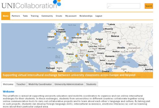 Screenshot of the uni-collaboration platform – www.uni-collaboration.eu