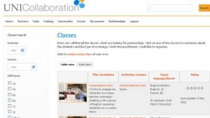 Screenshot of how to search for partner classes on uni-collaboration.eu