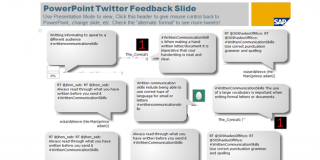 PowerPoint slide with Twitter feeds