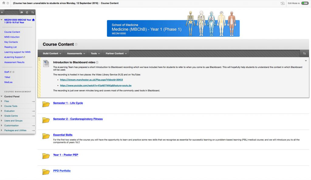 Screenshot of the Medical Programme on Blackboard