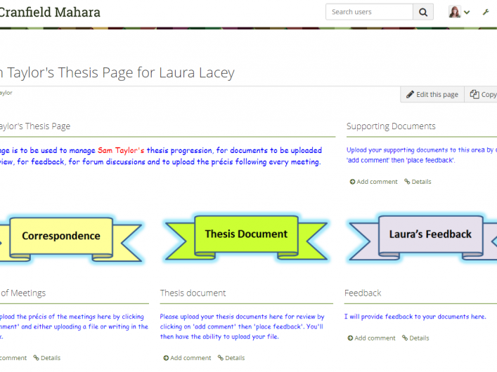 Screen shot of Mahara portfolio
