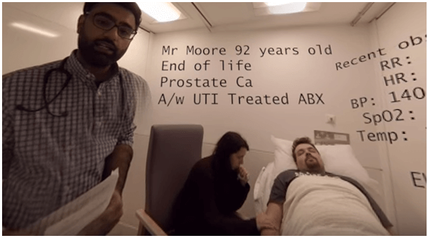 Still from the video 'VR Mock Ward Round Scenario - End of Life Patient' on YouTube. CC-BY-SA by MedRIFT Student Society, Leicester Medical School