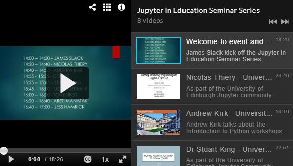 Jupyter in Education Seminar Series