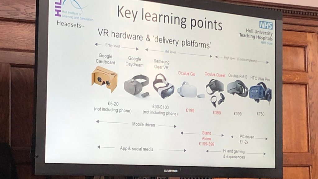 Image of display showing different types of VR hardware